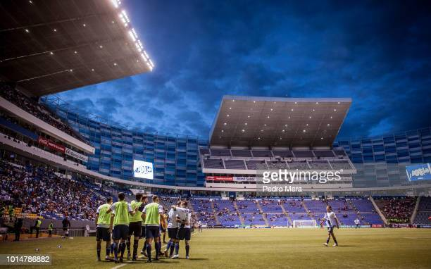 Players of Puebla celebrate their only goal during the 4th round match between Puebla and Veracruz as part of the Torneo Apertura 2018 Liga MX at...