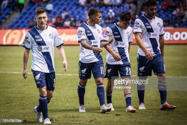 Players of Puebla leave the field during the 4th round match between Puebla and Veracruz as part of the Torneo Apertura 2018 Liga MX at Estadio...