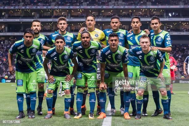 Players of Puebla pose prior the 10th round match between Monterrey and Puebla as part of the Torneo Clausura 2018 Liga MX at BBVA Bancomer Stadium...