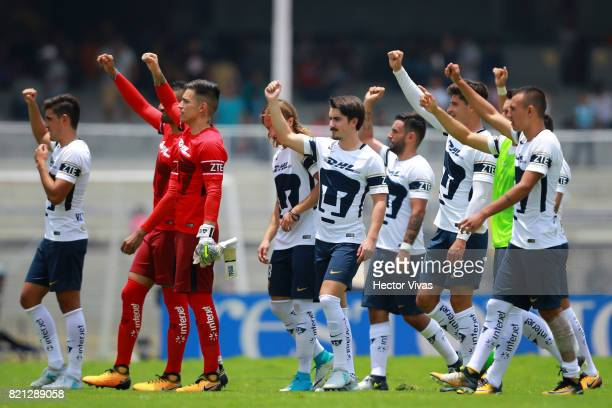Players of Pumas celebrate after wining the 1st round match between Pumas UNAM and Pachuca as part of the Torneo Apertura 2017 Liga MX at Olimpico...