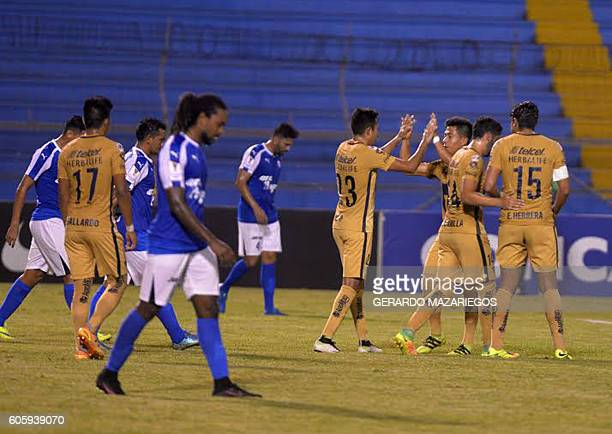 Players of Pumas from Mexico celebrate a goal agains Honduras Progreso during their CONCACAF Champions League football match at the Olimpico...