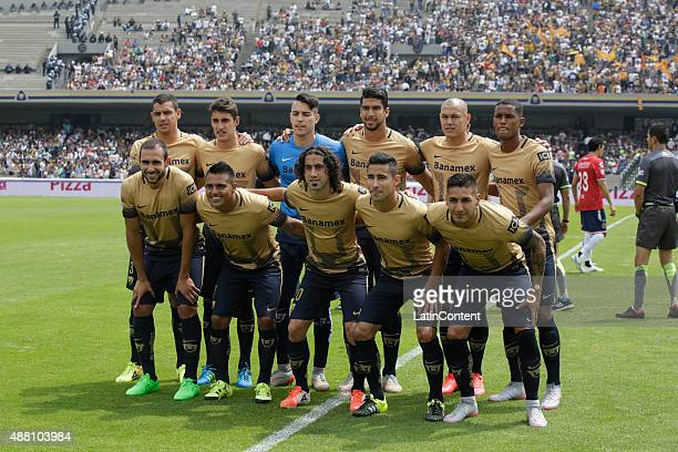 Players of Pumas pose for a team photo prior to an 8th round match between Pumas UNAM and Veracruz as part of the Apertura 2015 Liga MX at Olimpico...