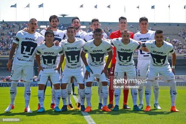 Players of Pumas pose prior the 15th round match between Pumas UNAM and Puebla as part of the Torneo Clausura 2018 Liga MX at Olimpico Universitario...