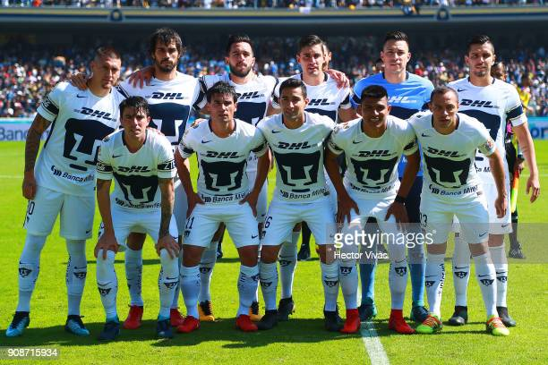 Players of Pumas pose prior the 3rd round match between Pumas UNAM and America as part of the Torneo Clausura 2018 Liga MX at Olimpico Universitario...