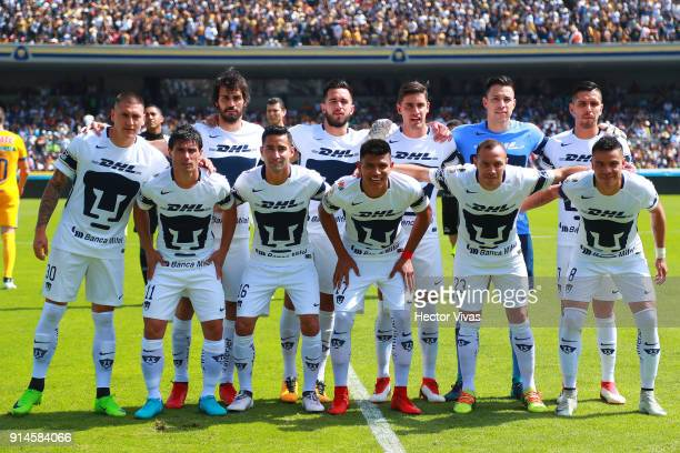 Players of Pumas pose prior the 5th round match between Pumas UNAM and Tigres UANL as part of the Torneo Clausura 2018 Liga MX at Olimpico...