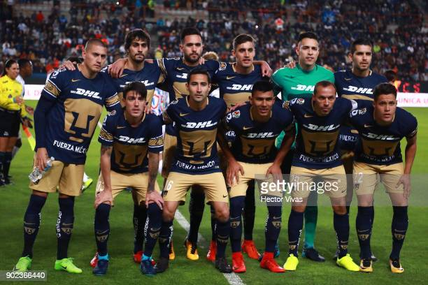 Players of Pumas pose prior the first round match between Pachuca and Pumas UNAM as part of the Torneo Clausura 2018 Liga MX at Hidalgo Stadium on...