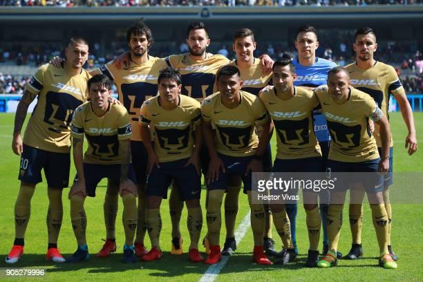 Players of Pumas pose prior the second round match between Pumas UNAM and Atlas as part of the Torneo Clausura 2018 Liga MX at Olimpico Universitario...