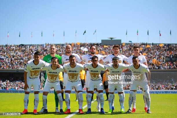 Players of Pumas pose prior the seventh round match between Pumas UNAM and America as part of the Torneo Clausura 2019 Liga MX at Olimpico...