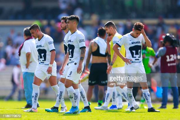 Players of Pumas reacts during the 18th round match between Pumas UNAM and FC Juarez as part of the Torneo Apertura 2019 Liga MX at Olimpico...