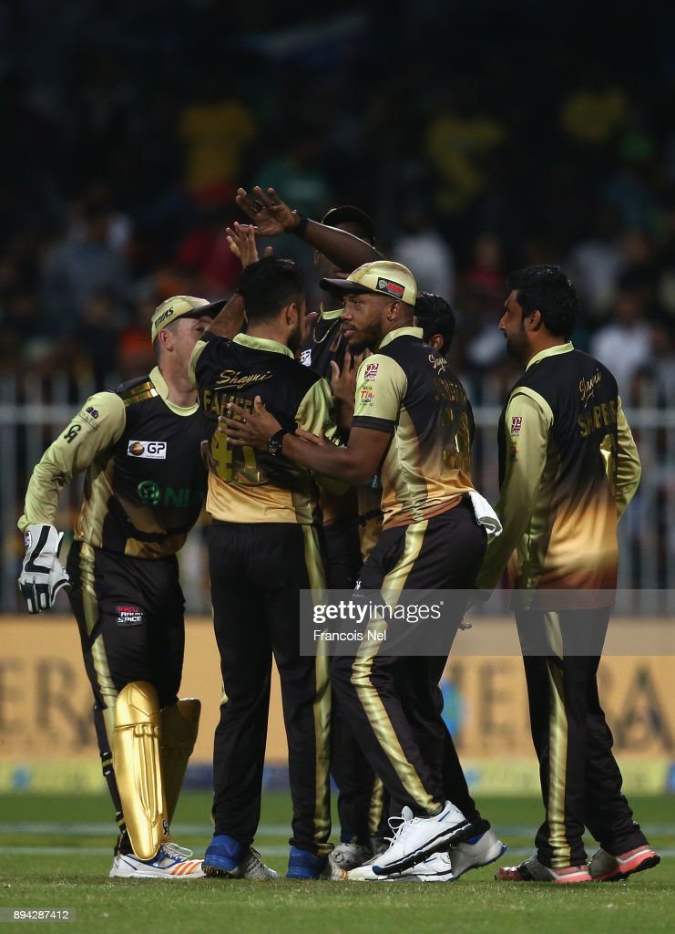Players of Punjabi Legends celebrates during the T10 League Final match between Kerela Kings and Punjabi Legends at Sharjah Cricket Stadium on December 17, 2017 in Sharjah, United Arab Emirates.