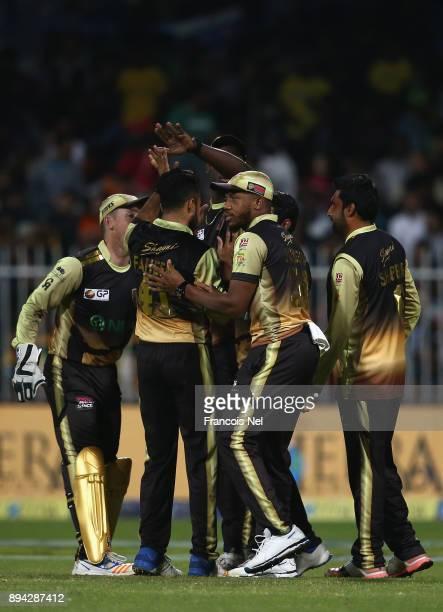 Players of Punjabi Legends celebrates during the T10 League Final match between Kerela Kings and Punjabi Legends at Sharjah Cricket Stadium on...
