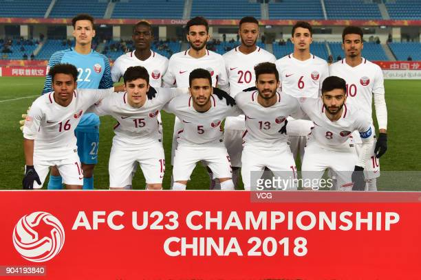 Players of Qatar line up prior to the AFC U23 Championship Group A match between Oman and Qatar at Changzhou Olympic Sports Center on January 12 2018...