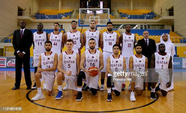 Players of Qatar pose for a picture prior to the start of the FIBA World Cup Asian Qualifier match between Qatar and Japan on February 24 2019 in...
