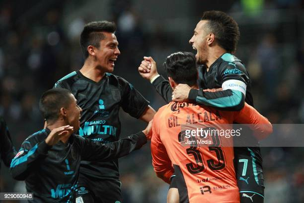 Players of Queretaro celebrate during the round of 16th between Monterrey and Queretaro as part of the Copa MX Clausura 2018 at BBVA Bancomer Stadium...