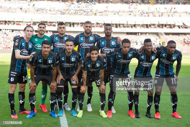 Players of Queretaro pose before the 7th round match between Queretaro and Atletico San Luis as part of the Torneo Clausura 2020 Liga MX at La...