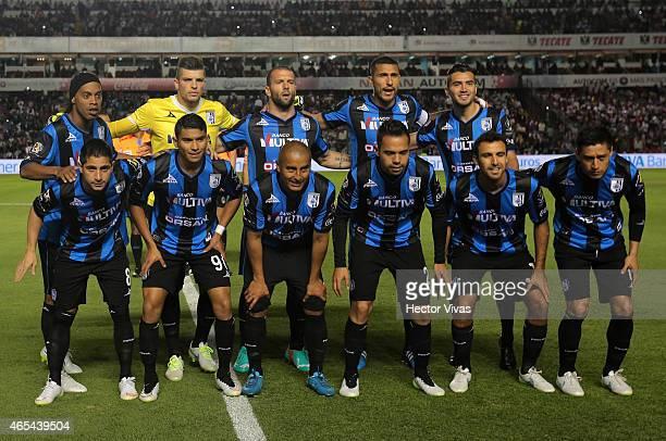 Players of Queretaro pose prior a match between Queretaro and Chivas as part of 9th round Clausura 2015 Liga MX at Corregidora Stadium on March 06...