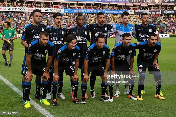 Players of Queretaro pose prior the 14th round match between Queretaro and America as part of the Clausura 2016 Liga MX at La Corregidora Stadium on...