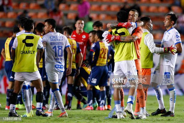 Players of Queretaro walk on the field after their second-round match 1-1 tie against Atletico San Luis in the Torneo Grita Mexico A21 Liga MX at...