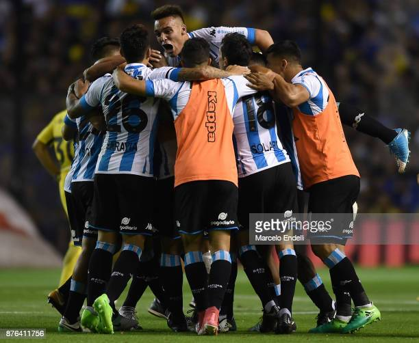 Players of Racing Club celebrate after winning a match between Boca Juniors and Racing Club as part of the Superliga 2017/18 at Alberto J Armando...