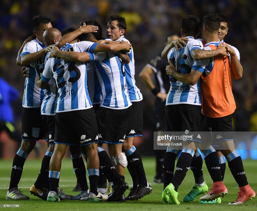 Players of Racing Club celebrates after winning a match between Boca Juniors and Racing Club as part of the Superliga 2017/18 at Alberto J. Armando Stadium on November 19, 2017 in Buenos Aires, Argentina.