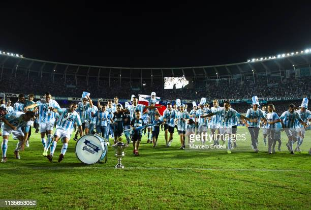 Players of Racing Club celebrates after winning the Superliga 2018/19 at Presidente Peron Stadium on April 7 2019 in Avellaneda Argentina