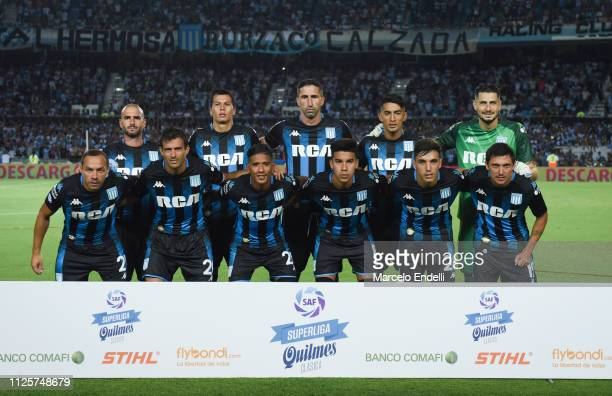 Players of Racing Club pose for a photo prior a match between Racing Club and Godoy Cruz at Juan Domingo Peron Stadium on February 18 2019 in...