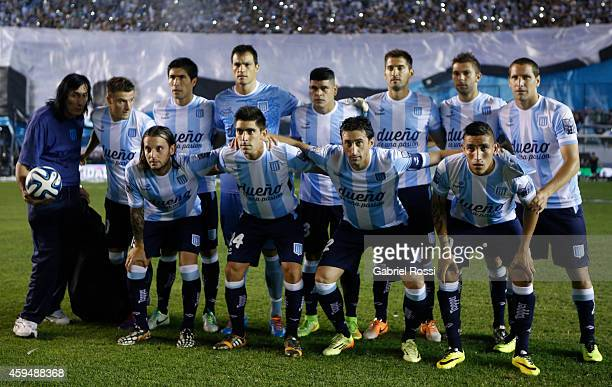 Players of Racing Club pose for a team photo prior a match between Racing Club and River Plate as part of 17th round of Torneo de Transicion 2014 at...