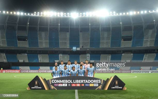 Players of Racing Club pose for the team photo prior to a Group F match between Racing Club and Alianza Lima as part of Copa CONMEBOL Libertadores...