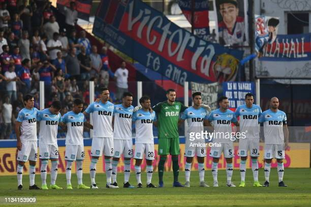 Players of Racing pose prior a match between Tigre and Racing Club as part of Superliga 2018/19 at Estadio José Dellagiovanna on March 31 2019 in...