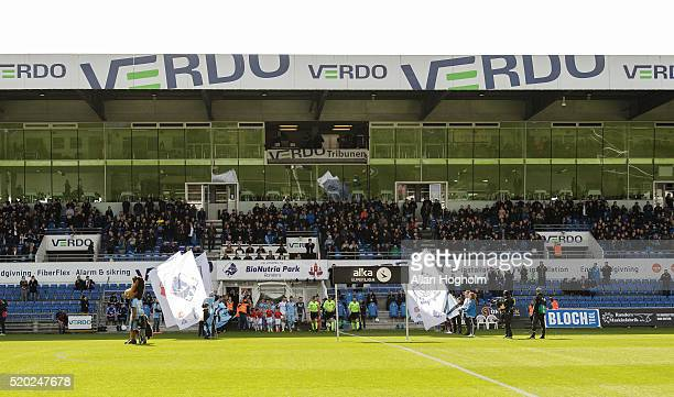 Players of Randers FC and FC Kobenhavn entering the pitch before the Danish Alka Superliga match between Randers FC and FC Copenhagen at Bionutria...