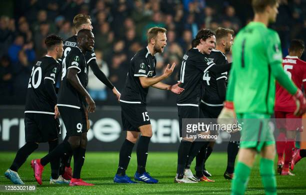 Players of Randers FC celebrate after the 1-1 goal scored by Simon Piesinger during the UEFA Conference League match between Randers FC and AZ...