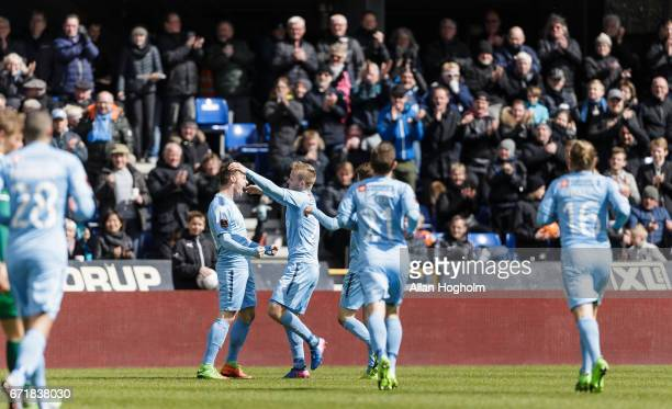 Players of Randers FC celebrates after scoring their fourth goal during the Danish Alka Superliga match between Randers FC and OB Odense at BioNutria...