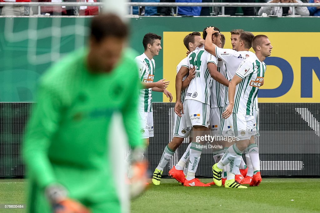 Players of Rapid Vienna celebrate their first goal during an friendly match between SK Rapid Vienna and Chelsea F.C. at Allianz Stadion on July 16, 2016 in Vienna, Austria.