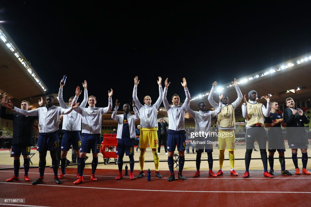 Players of RB Leipzig shows appreciation to the fans after the UEFA Champions League group G match between AS Monaco and RB Leipzig at Stade Louis II on November 21, 2017 in Monaco, Monaco.