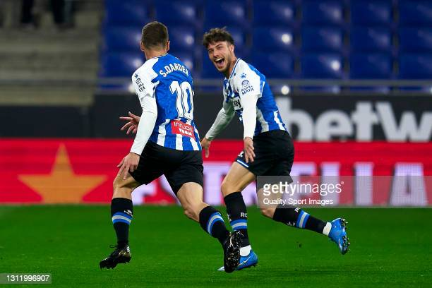 Players of RCD Espanyol celebrating their team's first goal during the Liga Smartbank match between RCD Espanyol de Barcelona and CD Leganes at RCDE...