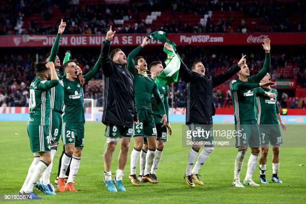 players of Real Betis celebrates the victory during the La Liga Santander match between Sevilla v Real Betis Sevilla at the Estadio Ramon Sanchez...