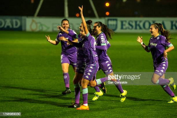 Players of Real Betis Femenino celebrate after scoring a goal during the Primera Division Femenina football match between Real Sociedad and Real...