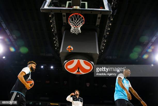 Players of Real Madrid attend a training session ahead of the Turkish Airlines Euroleague Final Four consolation match at Sinan Erdem Dome in...