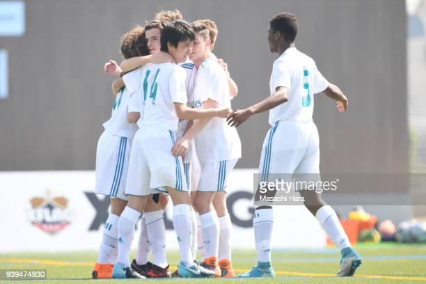 Players of Real Madrid Cadete B celebrate the first goal during the U-15 Kirin Lemon Cup match between Real Madrid Cadete B and Omiya Ardija U-15 on...