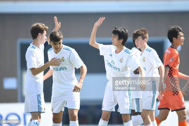 Players of Real Madrid Cadete B celebrate the third goal during the U-15 Kirin Lemon Cup match between Real Madrid Cadete B and Omiya Ardija U-15 on...