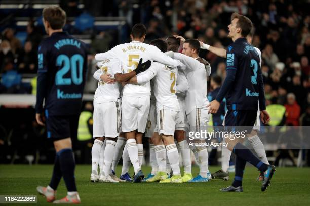 Players of Real Madrid celebrate after Federico Valverde's goal scoring during the Spanish league football match between Real Madrid CF and Real...