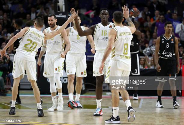 Players of Real Madrid celebrate during the 2019/2020 Turkish Airlines EuroLeague Regular Season Round 28 match between Real Madrid and LDLC Asvel...