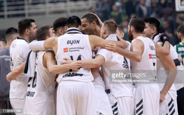 Players of Real Madrid celebrate their victory after the final whistle of the Turkish Airlines EuroLeague Play Off game 3 between Panathinaikos Opap...