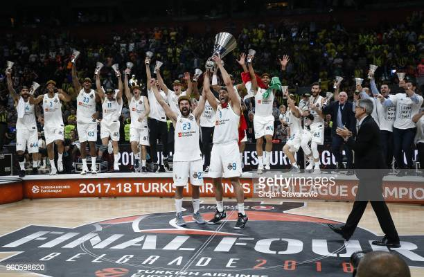 Players of Real Madrid celebrate their victory as they received the cup in Turkish Airlines Euroleague Final Four championship after the final match...