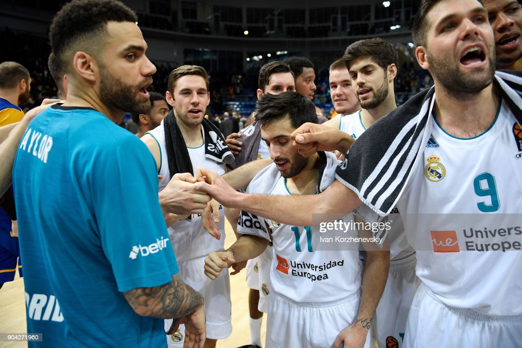 Players of Real Madrid celebrate victory during the 2017/2018 Turkish Airlines EuroLeague Regular Season Round 17 game between Khimki Moscow Region and Real Madrid at Arena Mytishchi on January 12, 2018 in Moscow, Russia.