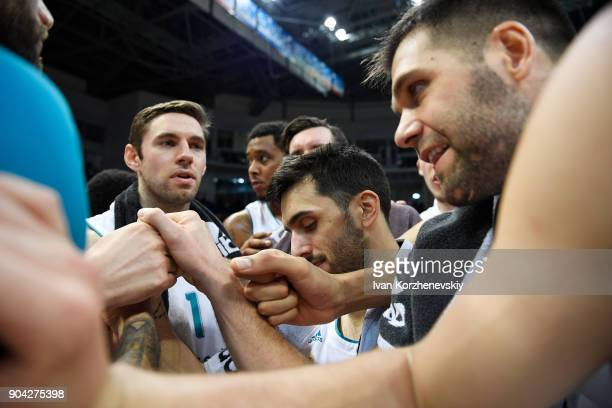Players of Real Madrid celebrate victory during the 2017/2018 Turkish Airlines EuroLeague Regular Season Round 17 game between Khimki Moscow Region...