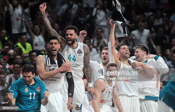 Players of Real Madrid celebrates at the end of the 2018 Turkish Airlines EuroLeague F4 Semifnal B game between Semifinal A CSKA Moscow v Real Madrid...