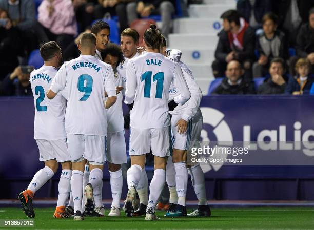 Players of Real Madrid celebrates the first goal during the La Liga match between Levante and Real Madrid at Ciutat de Valencia Stadium on February 3...