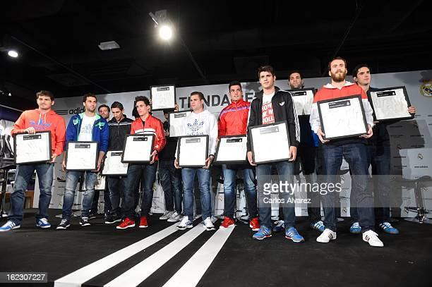 Players of Real Madrid CF and Ral Madrid Basketball Iker Casillas Alvaro Arbeloa Xabi Alonso Angel Di Maria Nacho Fernandez Antonio Adan Alvaro...