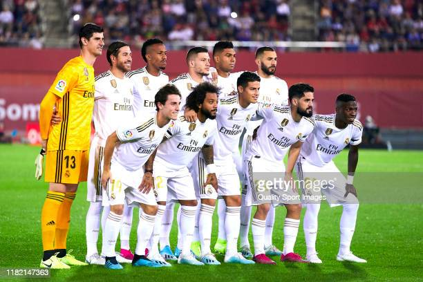 Players of Real Madrid CF poses on team's line up prior to the Liga match between RCD Mallorca and Real Madrid CF at Iberostar Estadi on October 19...